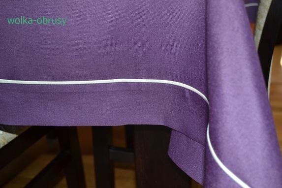 90x150 cm obrus imitujący len ciemny fiolet z ecru lamówką (002-18) (2)
