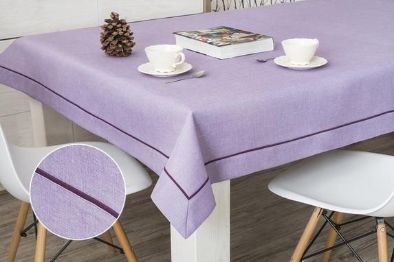 118x240 cm obrus imitujący len lawendowy z fioletową lamówką (002-35) (1)