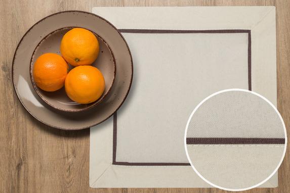 20x20 cm serwetka imitująca len CAPPUCINO Z BRĄZOWĄ LAMÓWKĄ -paczka 2 szt (002-2) (1)