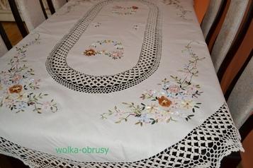 110x160 cm owal szydełko w różowe kwiaty (3903T-40)