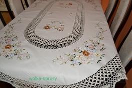 110x160 cm owal szydełko w różowe kwiaty (3903T-50)