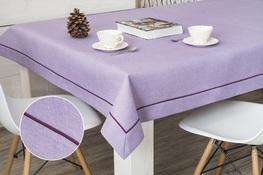 160x160 cm obrus imitujący len lawendowy z fioletową lamówką (002IZ-28)