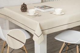 90x150 cm obrus imitujący len cappuccino z brązową lamówką (002-19)