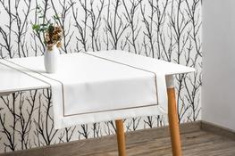 40x160 cm bieżnik imitujący len biały z beżową lamówką (002-12)