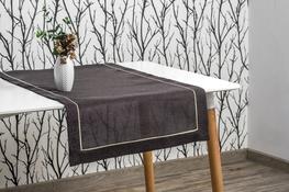 40x160 cm bieżnik imitujący len grafitowy z ecru lamówką (002-12)