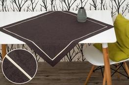 80x80 cm kwadrat imitujący len grafitowy z ecru lamówką (002LT-10)