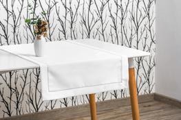 40x160 cm bieżnik imitujący len biały ze srebrną lamówką (002-12)