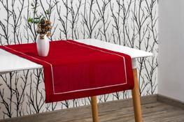 40x200 cm bieżnik imitujący len bordowy z ecru lamówką (002-14)