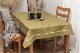 90x150 cm obrus imitujący len oliwkowy z ecru lamówką (002-18)