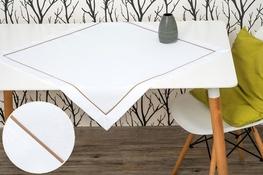 80x80 cm kwadrat imitujący len biały z beżową lamówką (002-10)