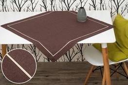 80x80 cm kwadrat imitujący len BRĄZOWY z ecru lamówką (002-10)
