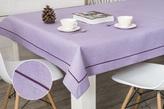 80x140 cm obrus imitujący len lawendowy z fioletową lamówką (002-16)